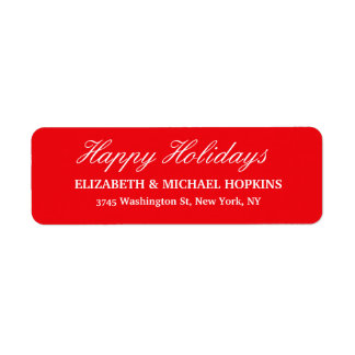 Happy Holidays Merry Christmas Red White Family Label