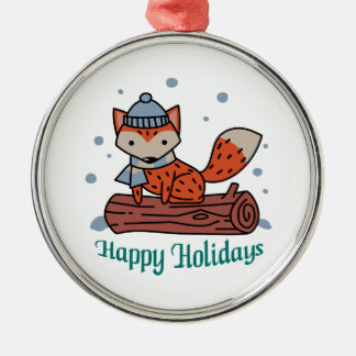 Happy Holidays Metal Ornament
