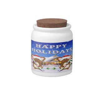Happy Holiday's Mice Candy Jar