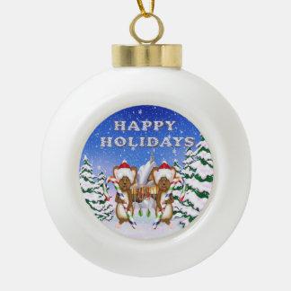Happy Holiday's Mice Ceramic Ball Ornaments