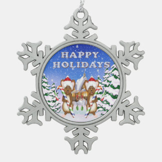 Happy Holiday's Mice Pewter Snowflake Ornaments