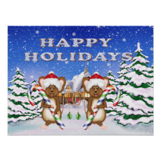 Happy Holiday's Mice Poster/Print Poster