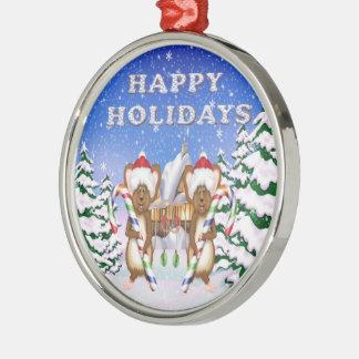 Happy Holiday's Mice Premium Round Ornament