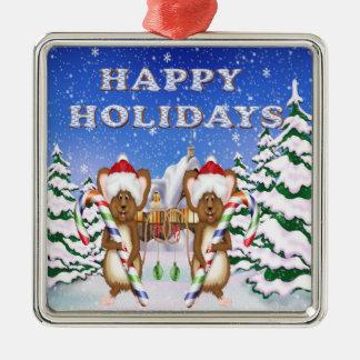Happy Holiday's Mice Premium Square Ornament