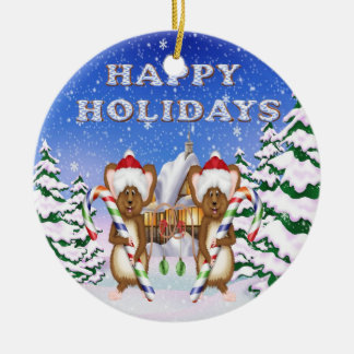 Happy Holiday's Mice Round Ornament