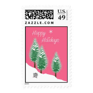 Happy Holidays Mice Trees Pink Candy Color Postage Stamps