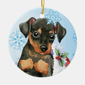 Happy Holidays Min Pin Ceramic Ornament