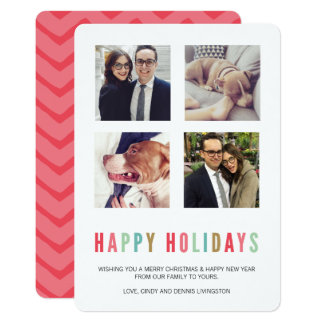 Happy Holidays | Modern & Bright Christmas 4 Photo Card