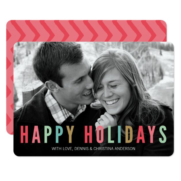 Happy Holidays | Modern & Bright Christmas Photo Card
