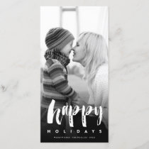 Happy Holidays Modern Brush Holiday Photo Card