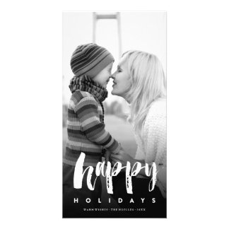 Happy Holidays Modern Brush Holiday Photo Card