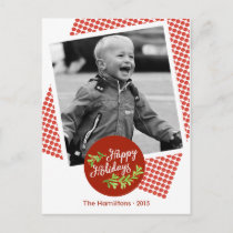 Happy Holidays Modern Christmas Photo Postcard