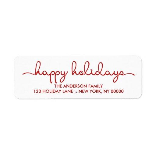 Happy Holidays Modern Hand Lettered Script Label Return Address Label