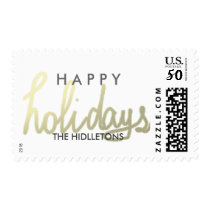 Happy Holidays Modern Script Gold Postage