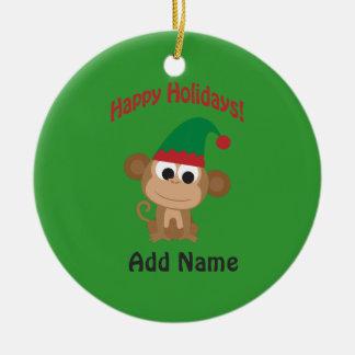 Happy Holidays! Monkey Christmas Elf Double-Sided Ceramic Round Christmas Ornament