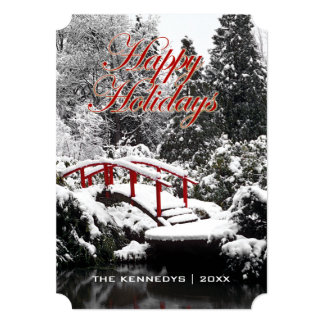 Happy Holidays - Moon bridge and pond Card