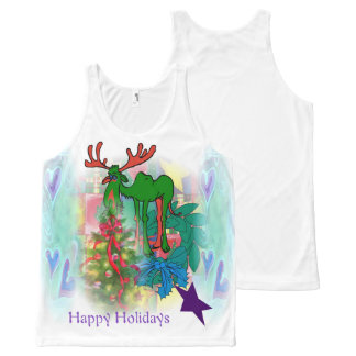 Happy Holidays Moose All-Over Print Tank Top