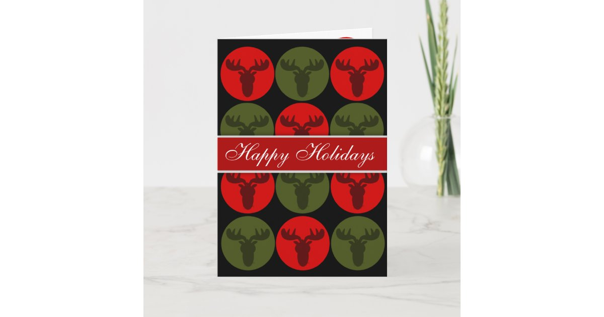 Happy Holidays Moose Silhouette Christmas Cards | Zazzle.com