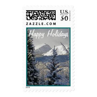 Happy Holidays Mountain Scenery Postage