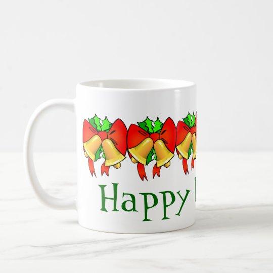 Happy Holidays Mug Bows and Bells