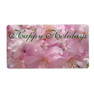 Happy Holidays name tags Gift tags Pink Blossoms Label