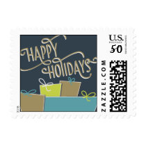 Happy Holidays - Navy Blue & Teal Postage