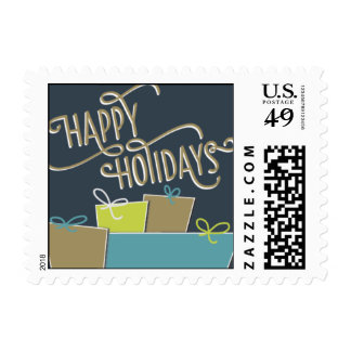 Happy Holidays - Navy Blue & Teal Postage Stamps