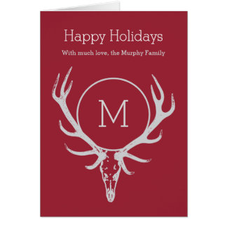 Happy Holidays non-traditional Elk Reindeer Skull Greeting Card
