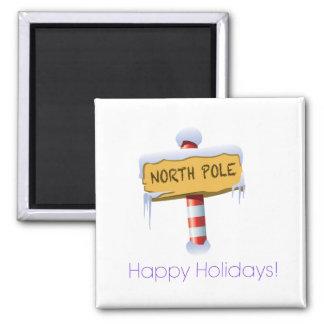 Happy Holidays North Pole Refrigerator Magnet