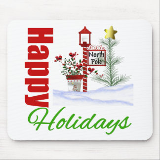 Happy Holidays North Pole Mouse Pads
