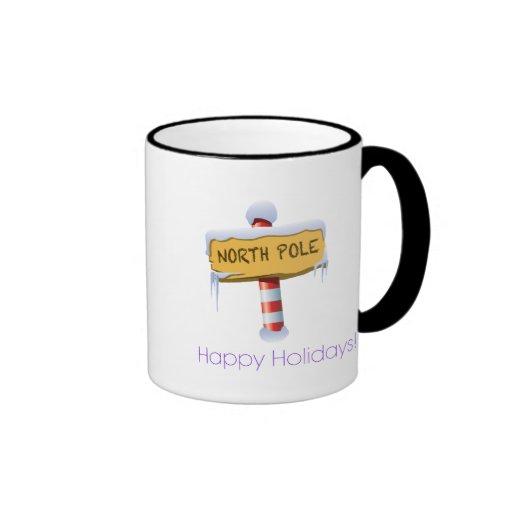 Happy Holidays North Pole Ringer Coffee Mug