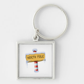 Happy Holidays North Pole Silver-Colored Square Keychain