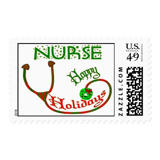HAPPY HOLIDAYS NURSE CHRISTMAS STETHO STAMPS