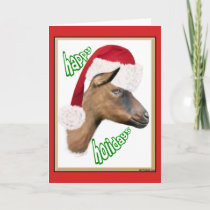 Happy Holidays Oberhasli Goat Card