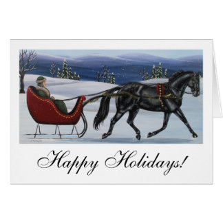 Happy Holidays One Horse Open Sleigh Card