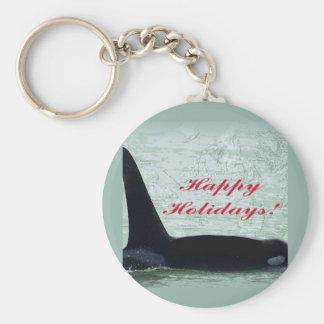 Happy Holidays: Orca Whale Happy Holidays San Juan Key Chains
