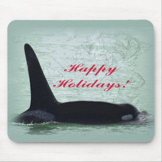 Happy Holidays: Orca Whale Happy Holidays San Juan Mouse Pad