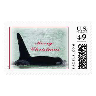 Happy Holidays: Orca Whale Happy Holidays San Juan Postage