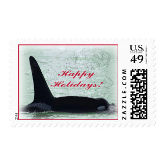Happy Holidays: Orca Whale Happy Holidays San Juan Postage Stamp