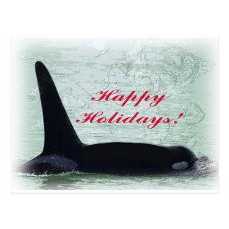 Happy Holidays: Orca Whale Happy Holidays San Juan Postcard
