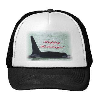Happy Holidays: Orca Whale Happy Holidays San Juan Trucker Hat