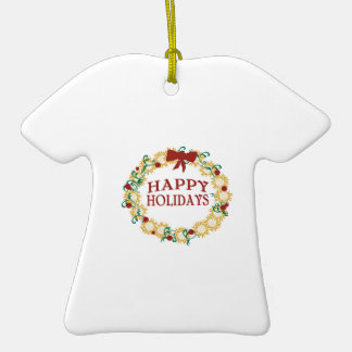 Happy Holidays Double-Sided T-Shirt Ceramic Christmas Ornament