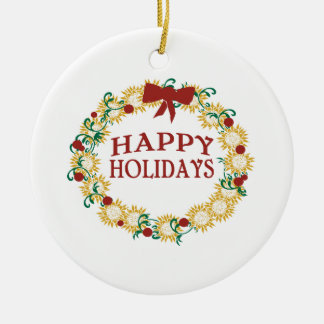 Happy Holidays Double-Sided Ceramic Round Christmas Ornament