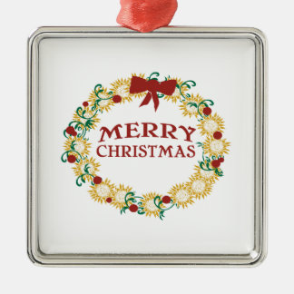 Happy Holidays Square Metal Christmas Ornament