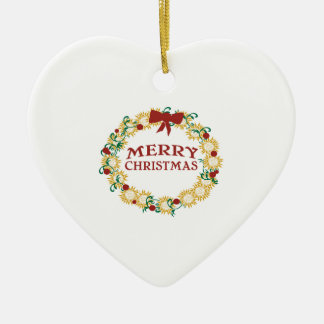 Happy Holidays Double-Sided Heart Ceramic Christmas Ornament