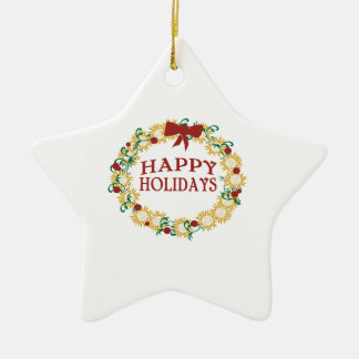 Happy Holidays Double-Sided Star Ceramic Christmas Ornament