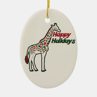 Happy Holidays Double-Sided Oval Ceramic Christmas Ornament