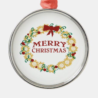 Happy Holidays Round Metal Christmas Ornament