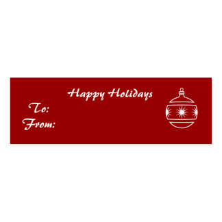 Happy Holidays, ornament on red background Double-Sided Mini Business Cards (Pack Of 20)