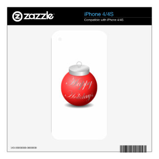 Happy Holidays Ornament Skins For The iPhone 4